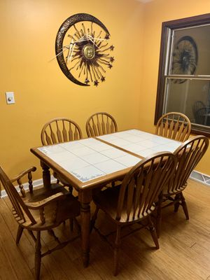 Dining set— ceramic-topped table and buffet for Sale in Sugar Grove, IL