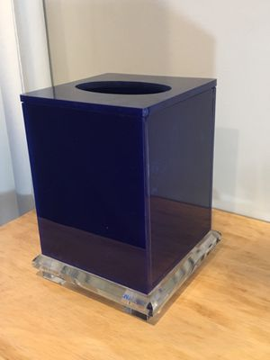 Blue & Clear Acrylic Tissue Box Holder / Cover / Stand for Sale in Los Angeles, CA