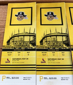Pirates vs Cardinals May 26 4:05pm for Sale in Houston, PA