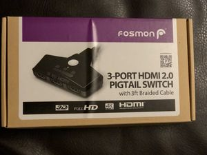 NEW (Never Used) 3-Port HDMI 2.0 Version with 3 ft. Braided Cable for Sale in Dublin, OH