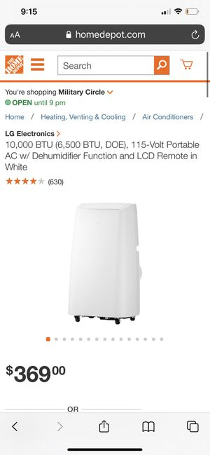LG Portable Air conditioner/ dehumidifier with remote intros for Sale in Portsmouth, VA