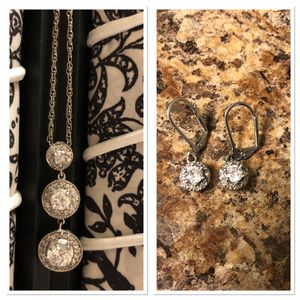 Silver Necklace/Pendant & Earrings Set CZ Diamonds for Sale in Colorado Springs, CO
