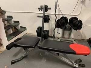 Downsizing Home Gym. Dumbbells, EZ Curl Bar, 115lbs Olympic Weight's, adjustable bench for Sale in Chesapeake, VA