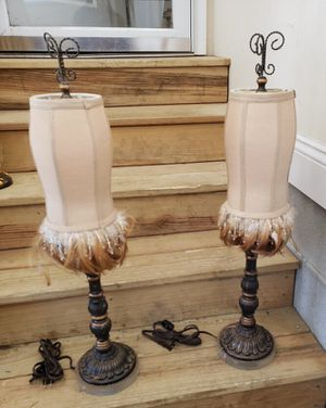 Pair of Table Lamps with Shades Trimmed in Feathers and Beads for Sale in Garner, NC