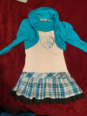 Girls one piece dress and jacket blue and black size m(8/10) for Sale in Killeen, TX