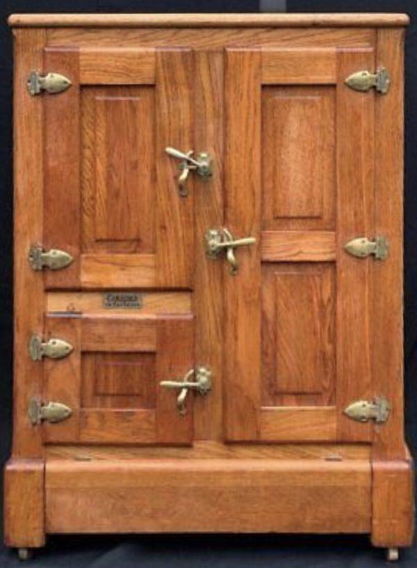 ANTIQUE OAK GIBSON ICE BOX 3 DOOR CHEST FORSALE