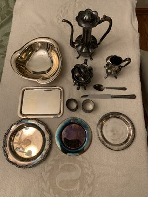 Silver played tea set and tableware for Sale in Arlington Heights, IL