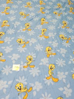 Tweety Bird Twin Size Blue Bed Sheet Flat Only 2001 Yellow Bird Looney Tunes for Sale in Queens,  NY