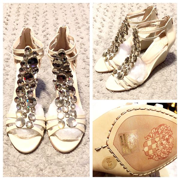 """New! Vince Camuto Wedge Sandals paid $138 size 8.5 brand new never worn! Color cream effervescent chic. Metallic mirror crystals. Approx. 3.5"""" heel."""