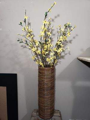 Wicker Basket with Fake Yellow Flowers Home Decor for Sale in Pomfret, MD