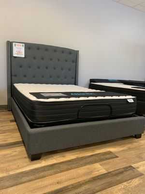 NEW Queen Upholstered Bed Frame - Charcoal Grey for Sale in Charleston, SC