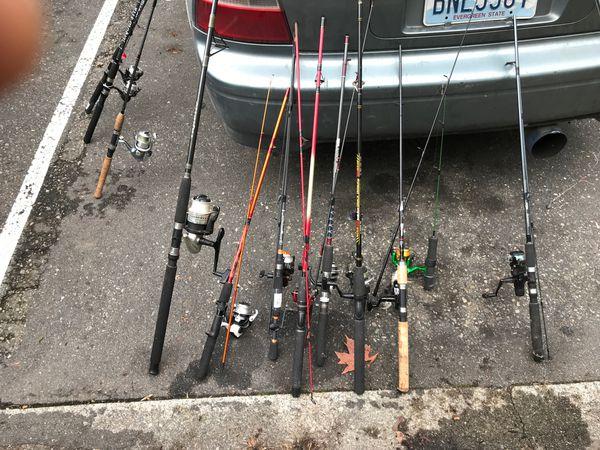 2 fishing rod poles and reels shimano Okuma