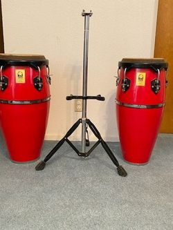 Conga Set With Basket Stand Barely Used Very Good Condition For $300 for Sale in Clovis,  CA