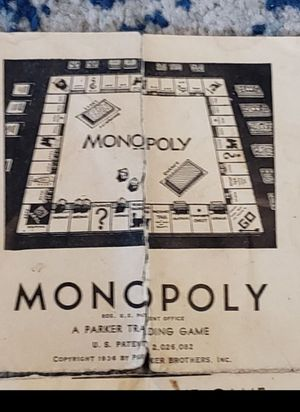 RARE 1930s wooden Monopoly game pieces, cards, 2 dice, money & instructions (no box) SEE ALL PICTURES for Sale in Columbus, OH