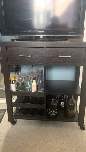 Wood Bar / Drawer / TV stand (Can come with TV if interested) for Sale in San Francisco, CA
