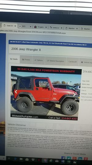 2006 JEEP WRANGLER 70K MI AUTOMATIC 4.0 AC for Sale in St. Louis, MO