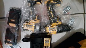 Dewalt 20v set with 1/4 in impact 1/2 in drill driver with 106 PC bit set for Sale in Chester, PA