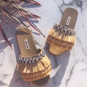 NEW Miu Miu off-white Raffia & crystal-embellished sandals size 36 for Sale in Torrance, CA