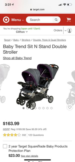 Baby trend sit n stand Double stroller for Sale in Lyndhurst, NJ