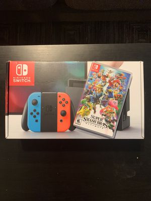 Brand New Nintendo Switch 32GB and Super Smash Bros game for Sale in Spring, TX