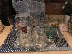 Collection of beer and drink glasses- set of 12+1 for Sale in Boston, MA