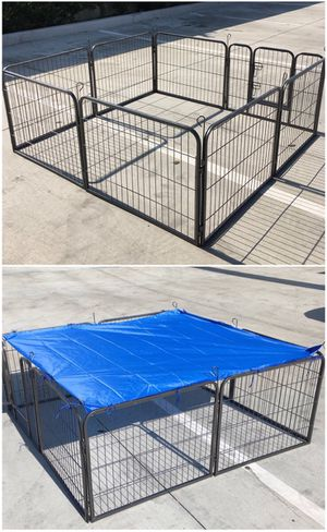 Brand new 24 inch tall x 32 inches wide each panel x 8 panels heavy duty exercise playpen with sun shade tarp cover fence safety gate dog cage crate for Sale in Covina, CA