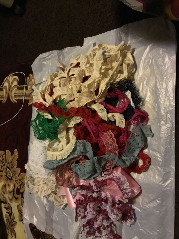 12 bead necklace 7 roll ribbons two bag of assorted bead in a bags