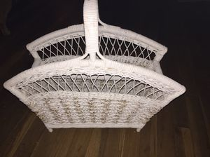 Wicker magazine rack white for Sale in Bel Air, MD