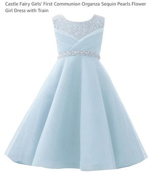 Castle Fairy Girls (Size 12) First Communion Organza Sequin Pearls Flower Girl Dress with Train for Sale in Marietta, GA