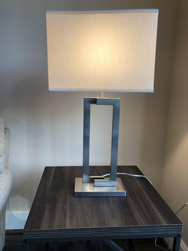 Table lamp (silver w white) -in Reston VA