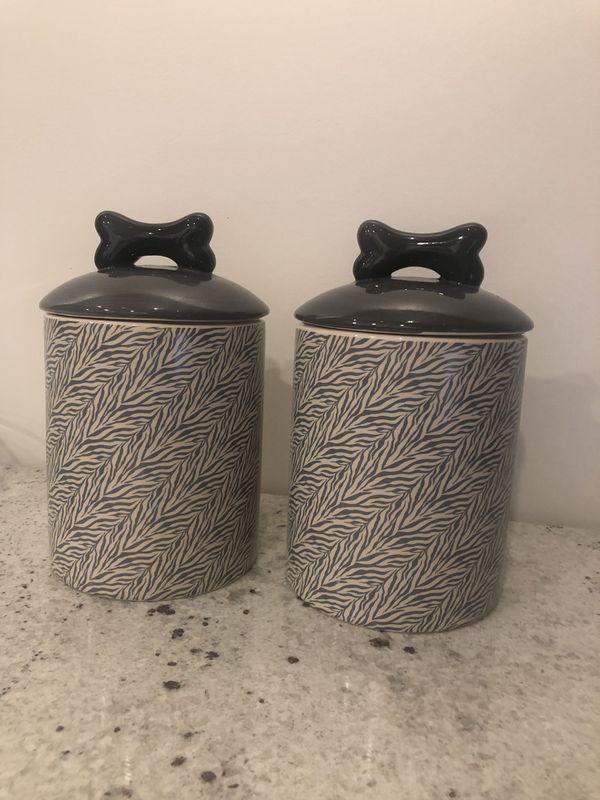 2 Ceramic dog treat or food jar