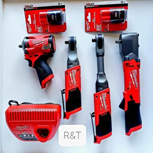 Milwaukee m12 fuel 3/8 sttuby/3/8 ratchet/3/8 extended ratchet/3/8 right angle impact wrench/ x2. 2.0battery kit for Sale in Los Angeles, CA