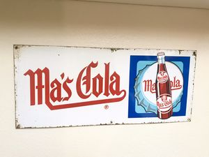Vintage Ma's Cola embossed Metal advertising sign for Sale in San Diego, CA