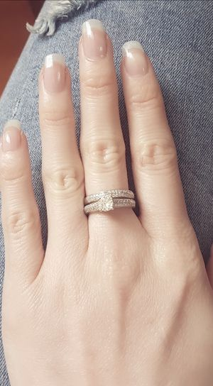 Stamped 925 Sterling Silver Engagement/Wedding Ring set - Code GAND01 for Sale in Sacramento, CA