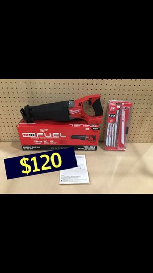 Brand new Milwaukee m18 sawzall 2720-20 + 10pc blade set $120 CASH & FIRM PRICE NO LOW OFFERS NOT SELLING FOR LESS DONT WASTE TIME SERIOUS BUYER for Sale in Los Angeles, CA