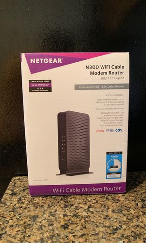 NETGEAR C3000-100NAS N300 (8x4) WiFi DOCSIS 3.0 Cable Modem Router (C3000) Certified for Xfinity from Comcast, Spectrum, Cox, Cablevision & More for Sale in Arlington, VA
