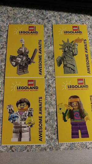 4 legoland tickets. Expire March 1st. for Sale in Hesperia, CA
