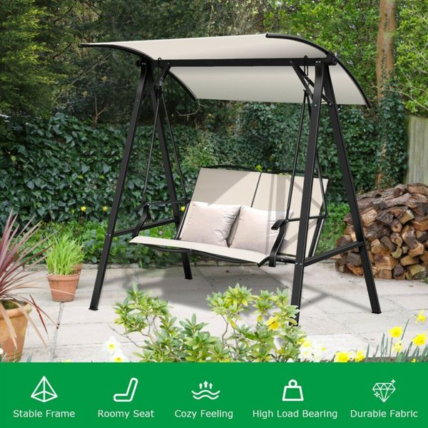 Beige Outdoor Porch Steel Hanging 2-Seat Swing Loveseat with Canopy
