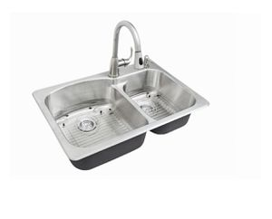 All-in-One Dual Mount Stainless Steel 33 in. 2-Hole Double Bowl Kitchen Sink Kit with Faucet for Sale in Fort Lauderdale, FL