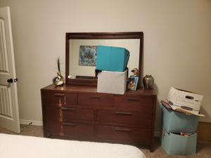 Bed frame, 2 mattresses, back board, 2 nightstands, dresser and mirror. Real wood. for Sale in El Paso, TX