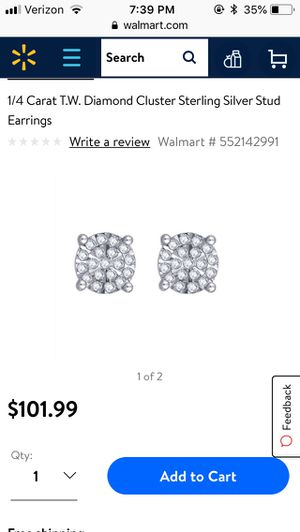 1/4 Carat T.W. Diamond Cluster Sterling Silver Stud Earrings for Sale in Chantilly, VA