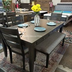 NEW, GRAY 6 PCS DINING SET WITH 6 SMALL DRAWERS. for Sale in Santa Ana,  CA