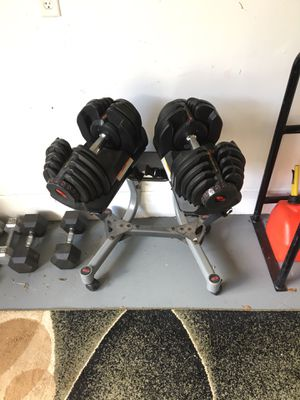 Bow flex dumbbells, stand and bench for Sale in Port St. Lucie, FL
