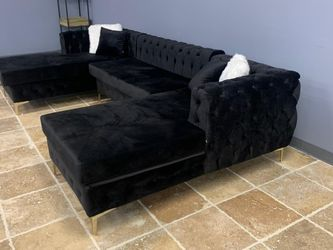 Double Chaise Black Or Blue Velvet Sectional ❗$39 Down Payment 100 Days Same As Cash for Sale in Austin,  TX