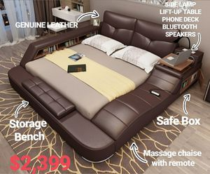 Brand New Contemporary Multifunctional Genuine Leather Brown, Black, White Bed for Sale in Charlotte, NC