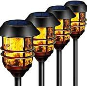 """55"""" Tall Solar Torches Lights 4 Pack with Flicking Flame 100% Metal LED Solar Light Outdoor Dancing Stainless Steel for Sale in Ontario, CA"""