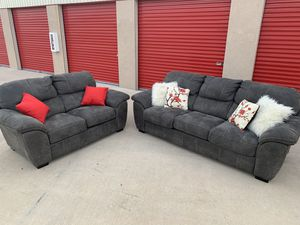 Can deliver - oversized grey couch sofa loveseat 2pcs for Sale in Burleson, TX