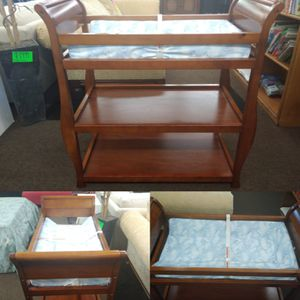 Wooden changing table with pad for Sale in Tampa, FL