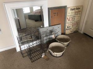 Wall mirror, wall decor cork board push pin board wire baskets LOT of home decor items for Sale in Austin, TX