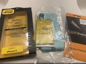 Otter box cases and screen protectors for iPhone X for Sale in Buda, TX